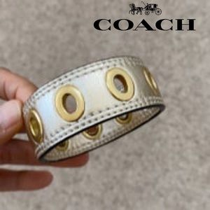 Coach Gold Leather Grommet Bracelet